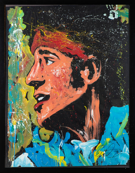Bruce Springsteen Oil on Paper Original Painting Massive Rare