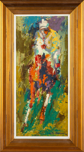 Original Signed Oil Painting Horse & Jockey, 48K Appraisal