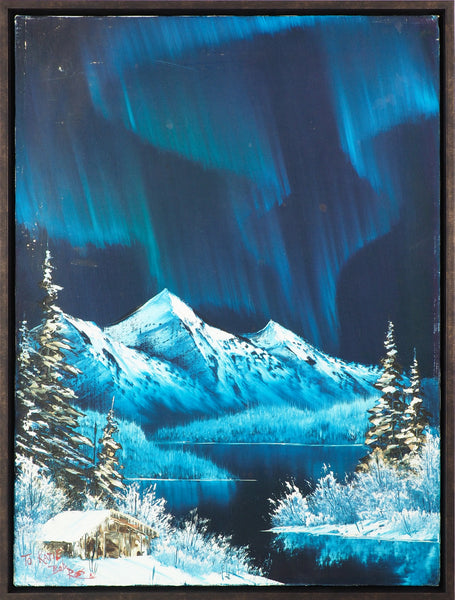 Bob Ross Signed Original Northern Lights Painting
