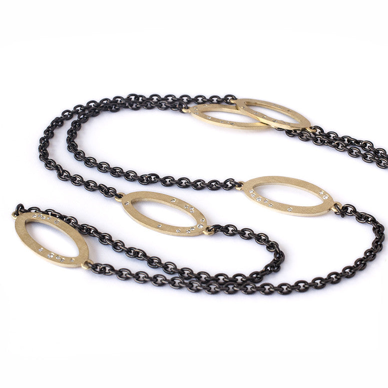 18k yellow gold galaxy style diamond open loop necklace with black rhodium plated stainless steel chain
