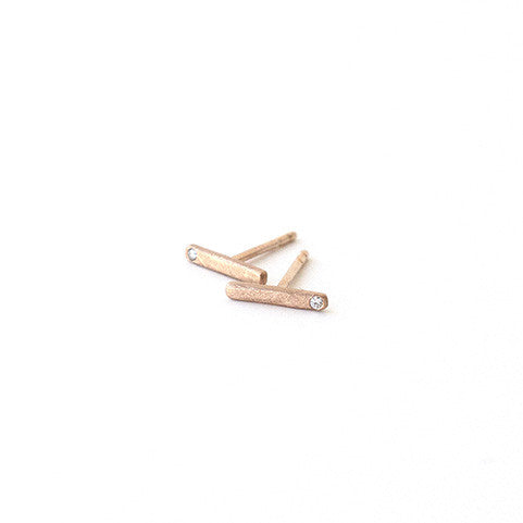 14k rose gold bar diamond earrings