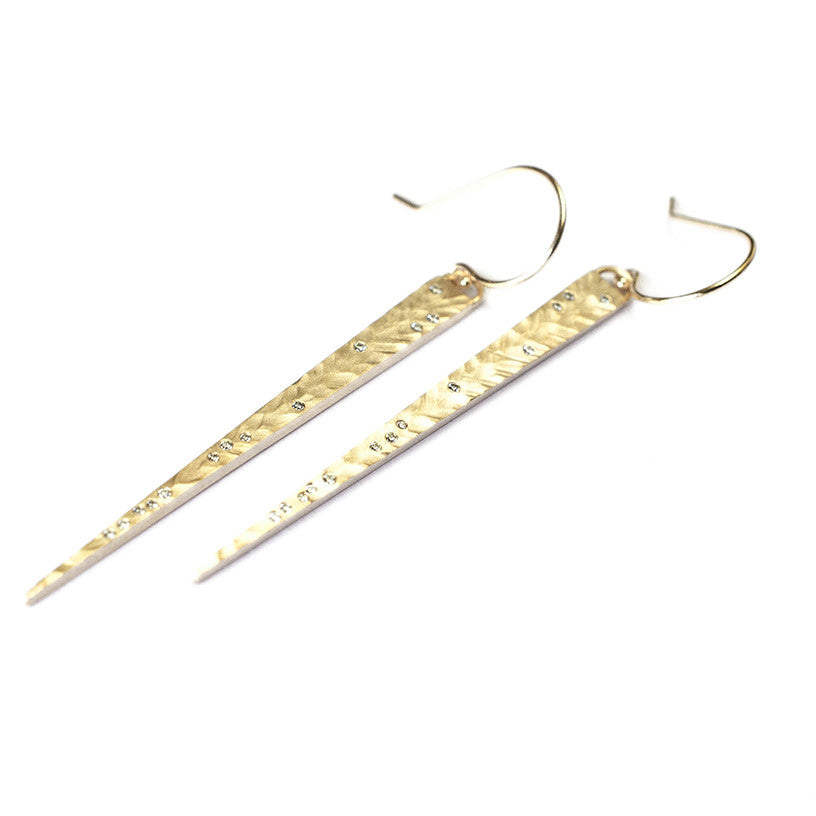 18k yellow gold hammered diamond spike earrings