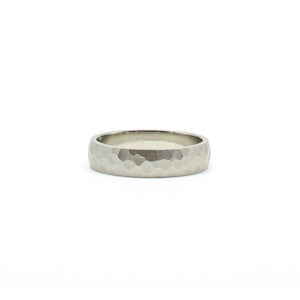5mm White Hammered Band