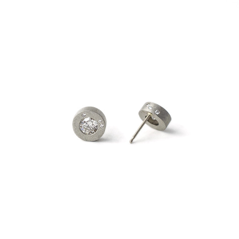 18k white gold galaxy style diamond studs