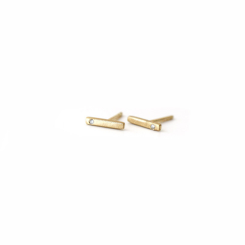 14k gold bar diamond earrings