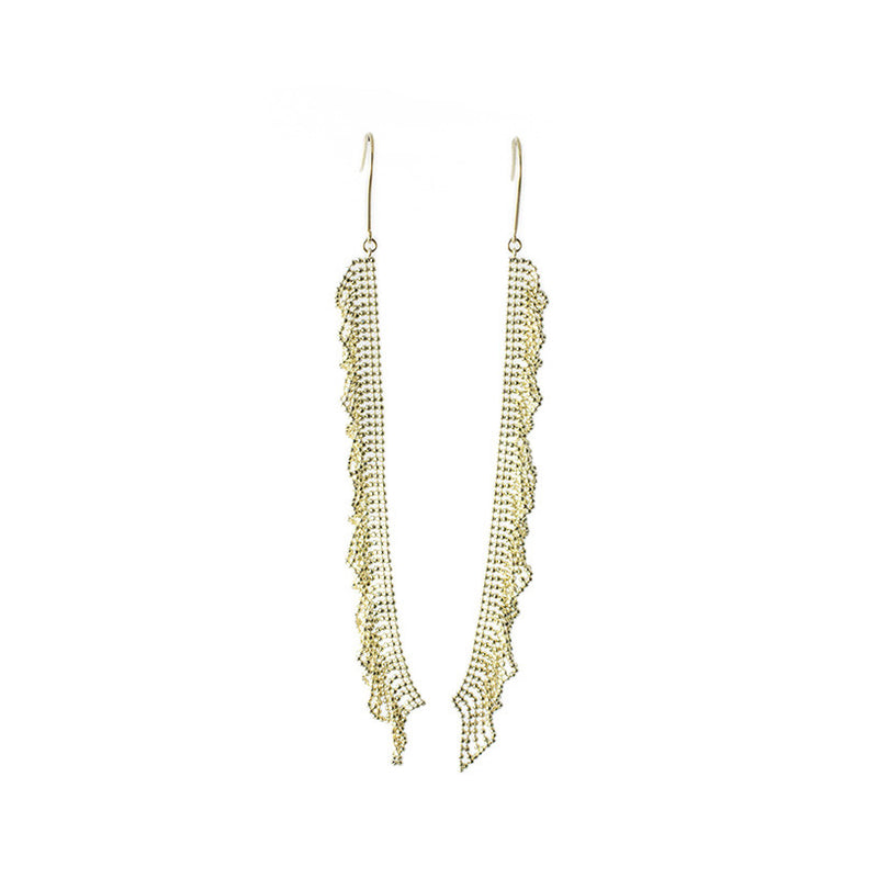 18k yellow gold dangling beaded chain earings