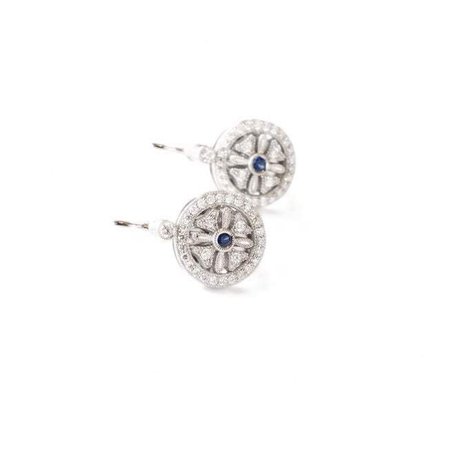Diamond Sapphire Leverback Earrings