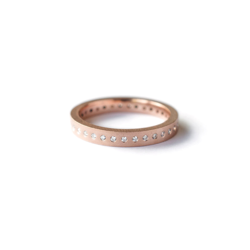Rose Gold Flush Set Diamond Band