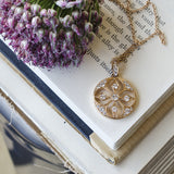 Rose gold diamond byzantine style necklace