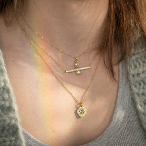 Offset Engraved Bar Necklace Yellow 2