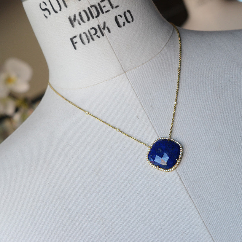 Lapis diamond 18k gold necklace