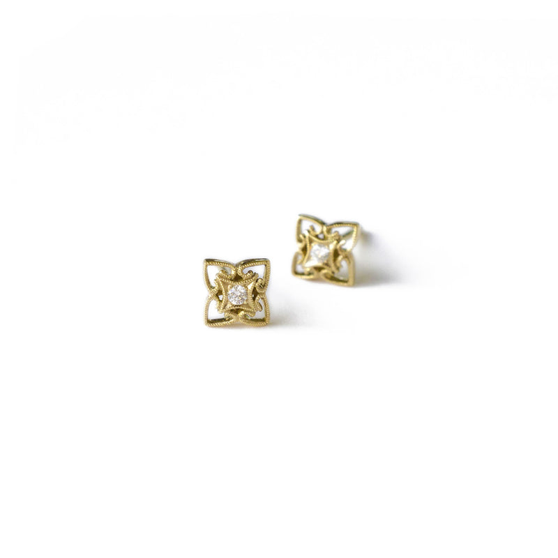 Gold Milgrained Diamond Studs