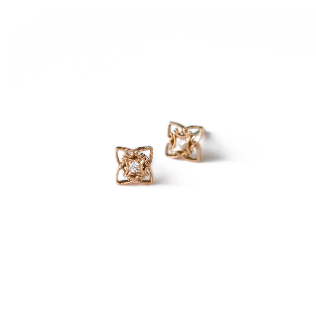 Rose Gold Milgrained Diamond Studs