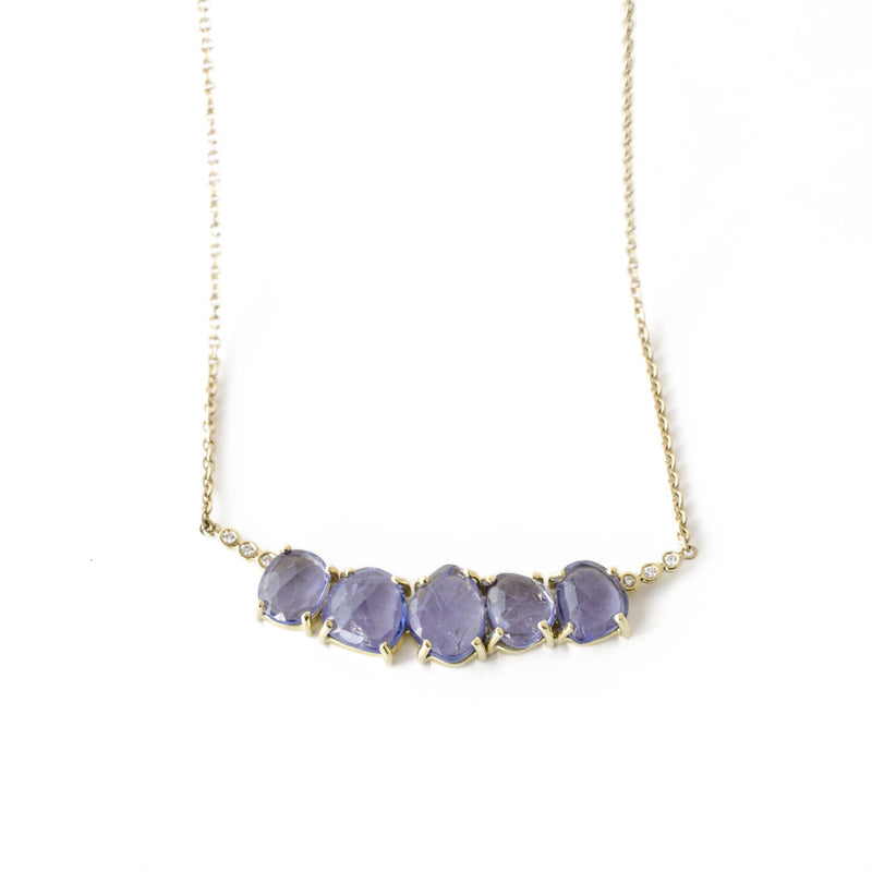 Tanzanite diamond necklace 18k gold