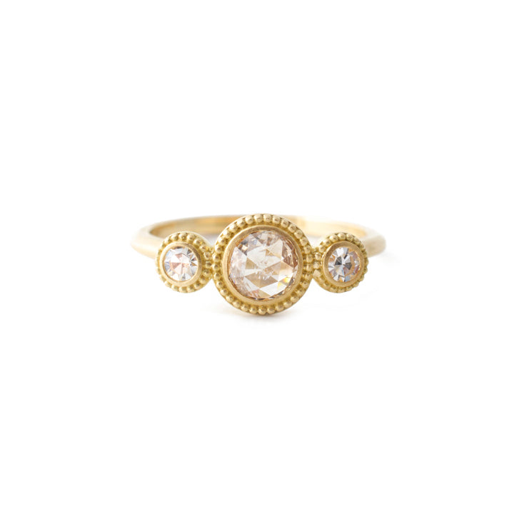 3 Stone Beaded Halo Ring