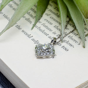 White Gold Scalloped Halo Pendant