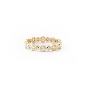 Yellow Gold Alternating Bezel Ring