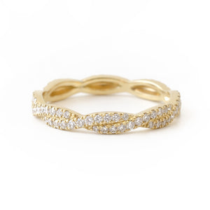 18k yellow diamond twist ring wedding band