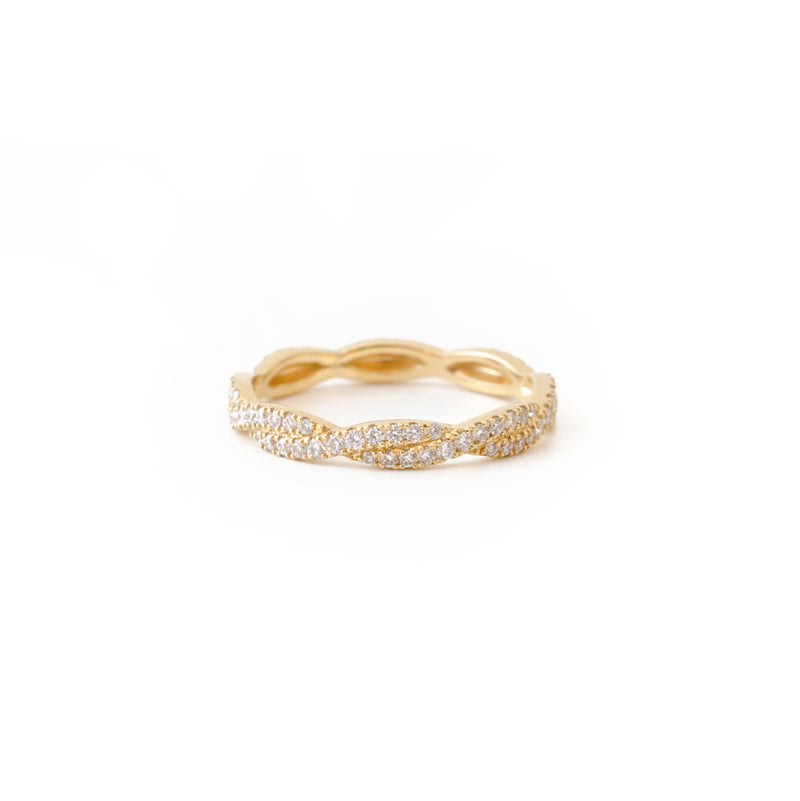 Yellow Gold Diamond Twist Ring