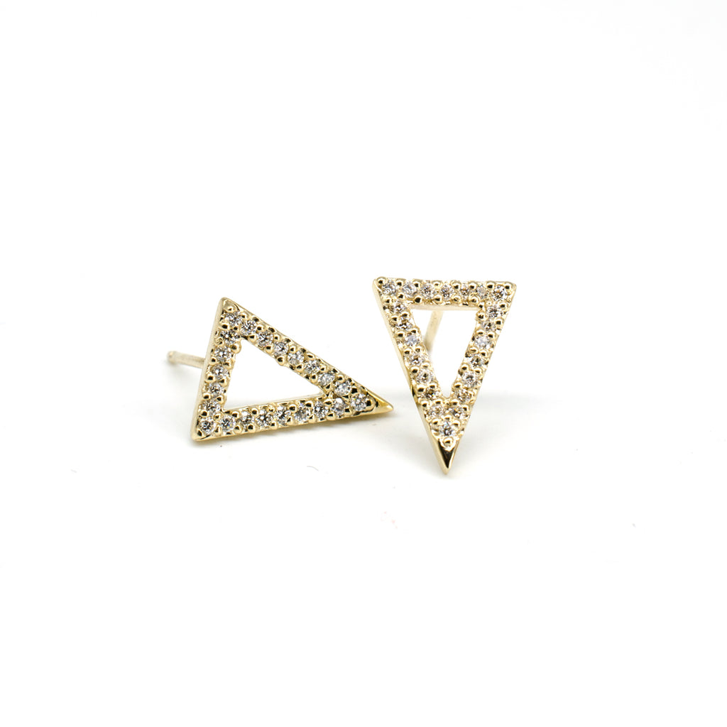Open Diamond Triangle Studs