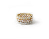 alternating bezel stacking ring diamond rose yellow white gold 18k