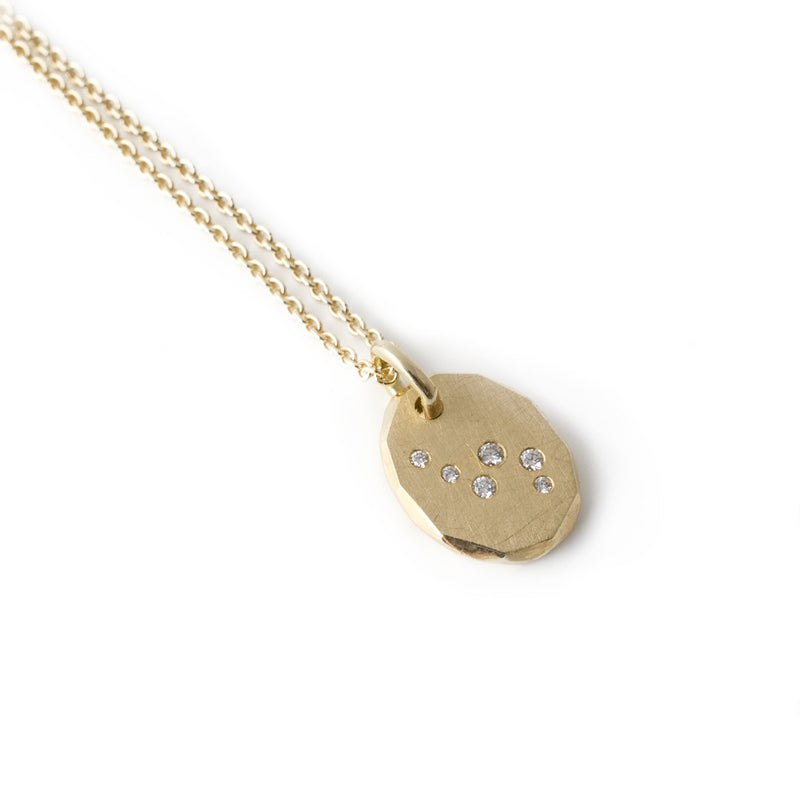 18k recycled yellow gold and diamond galaxy style drop necklace