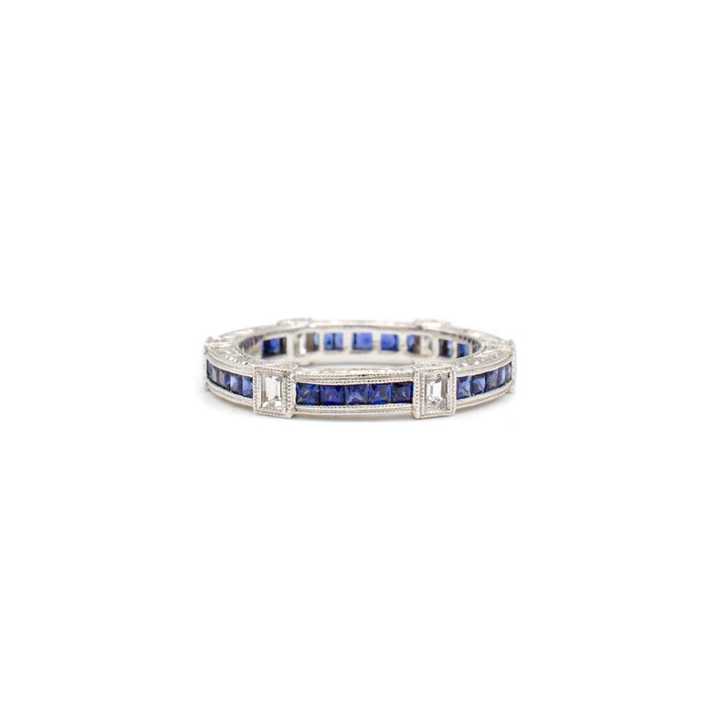 Princess Sapphire and Diamond Eternity Ring