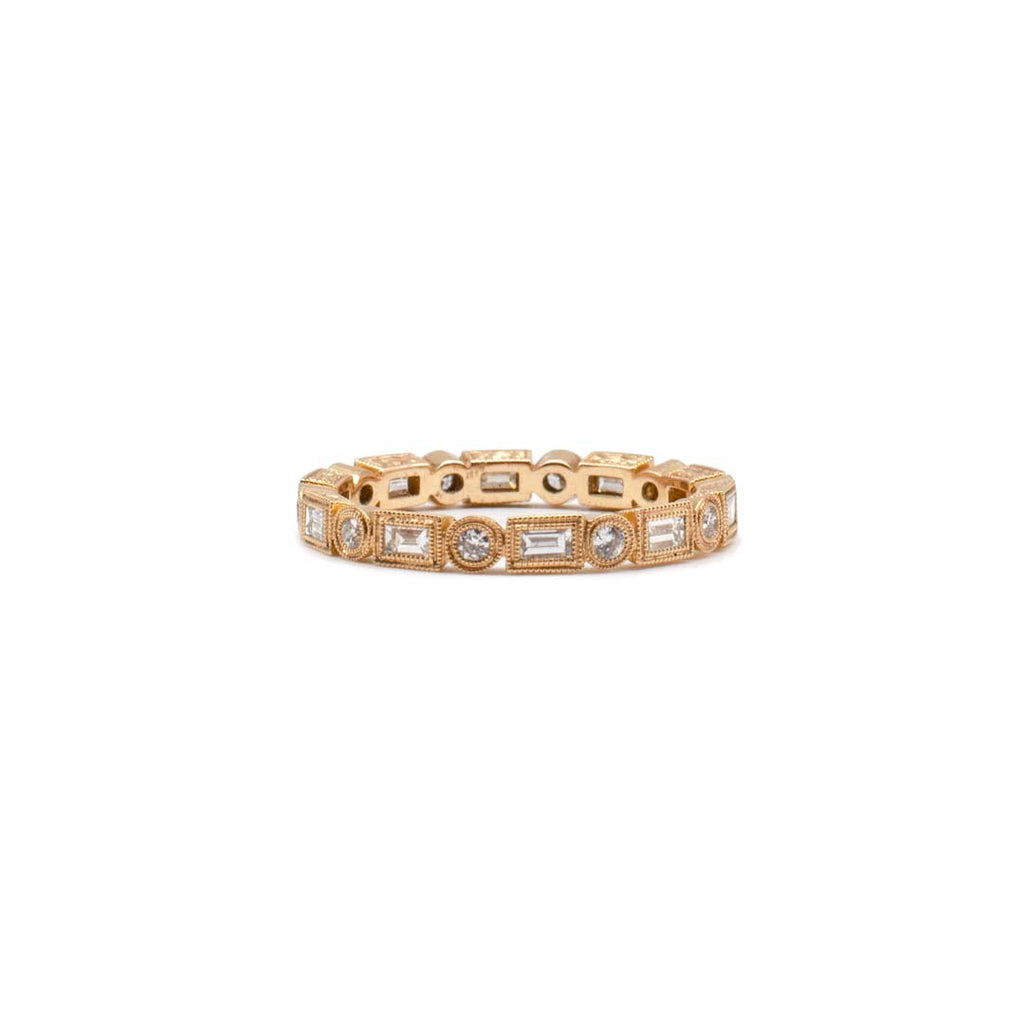Medium Rose Gold Baguettes & Rounds Band