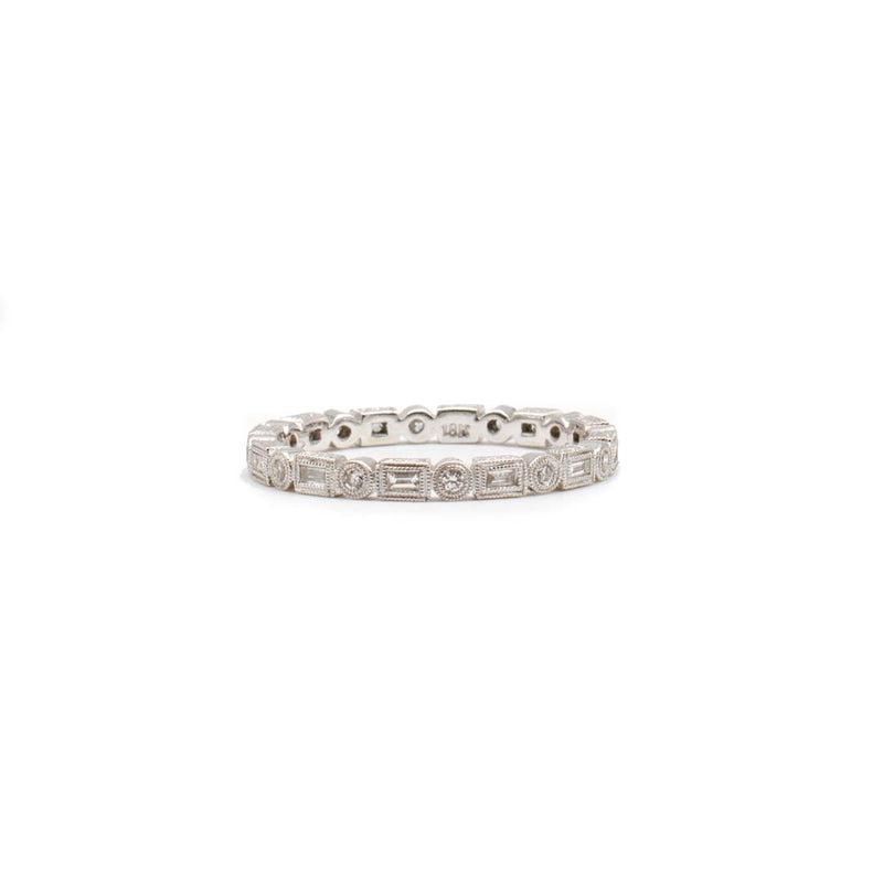 Small White Baguette & Round Band