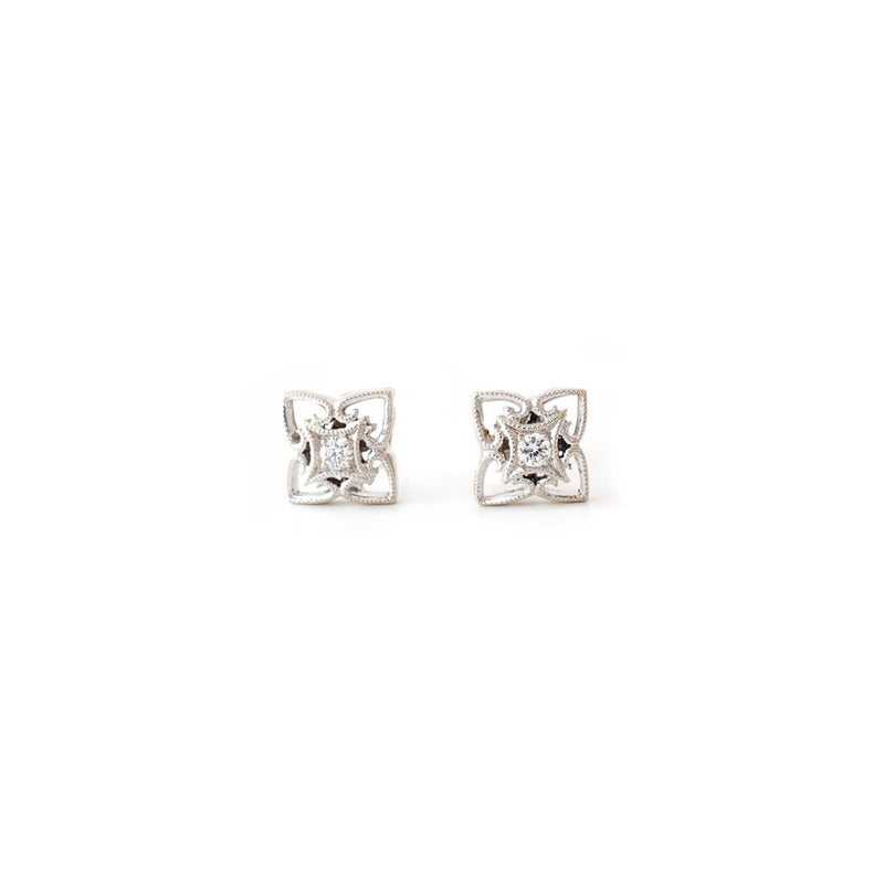 White Gold Milgrained Diamond Studs