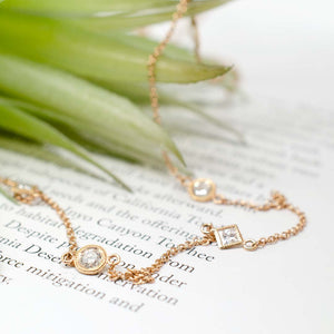 Rose Diamond Station Necklace