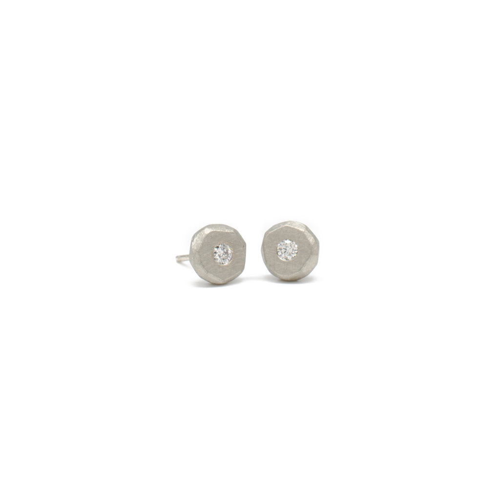 2.2 White Gold Pebble Studs