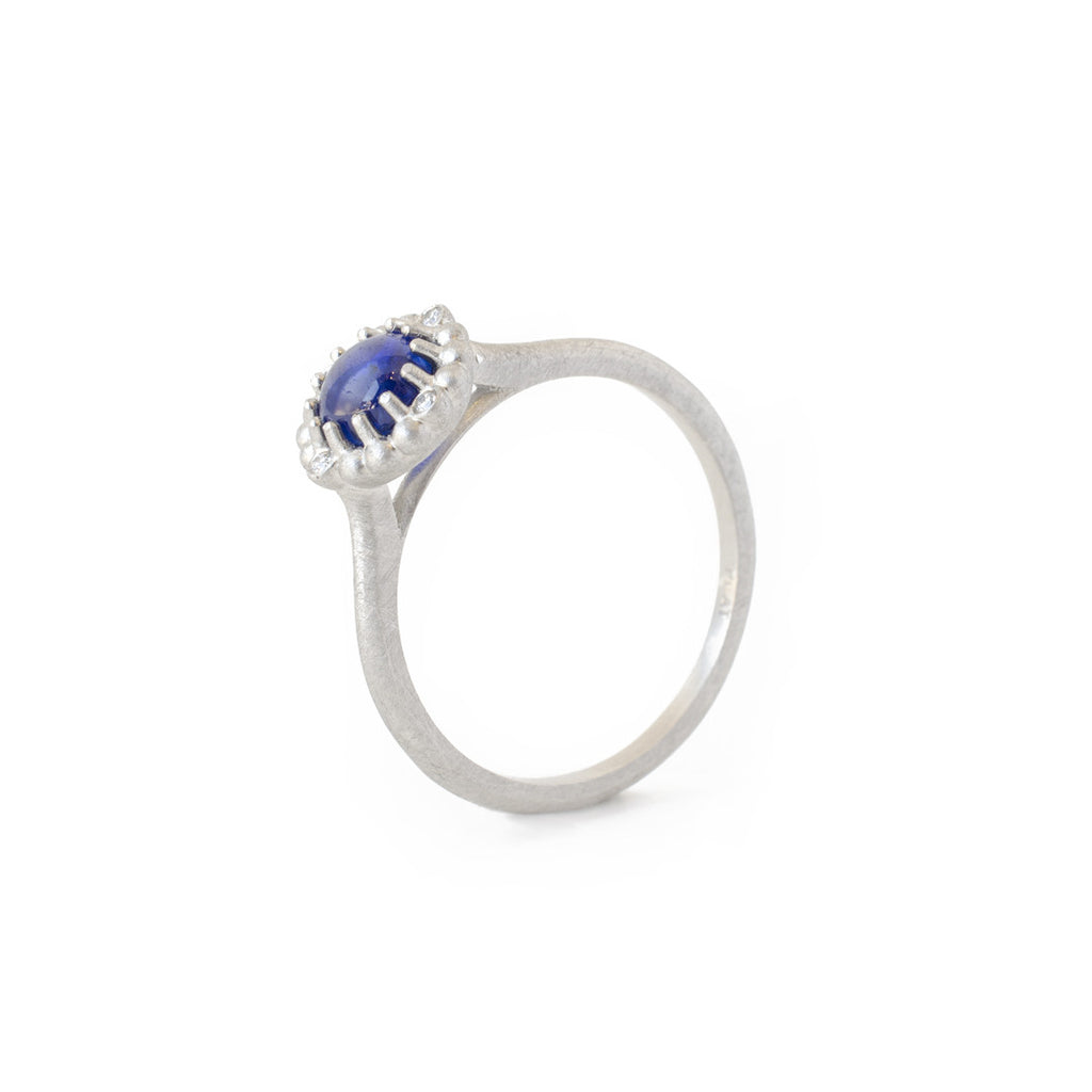 cabochon sapphire orb ring platinum