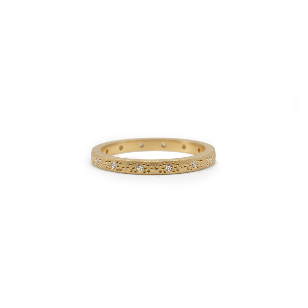 gold and diamond galaxy style milgrain eternity band stacking ring sets