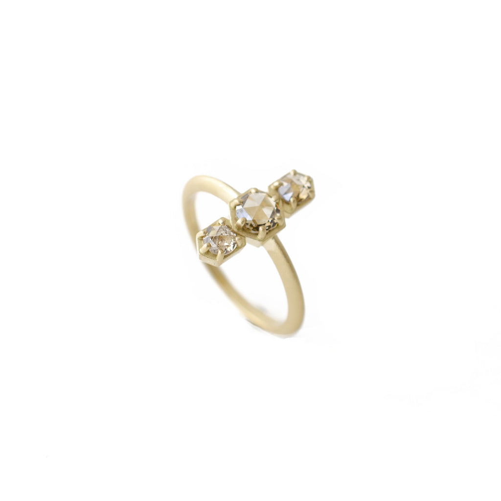 three stone smokey rose cut diamond ring handmade