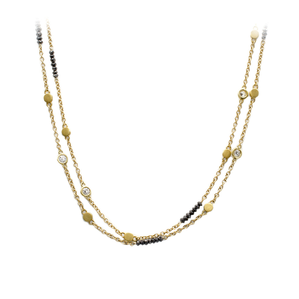 Black and White Diamond Chain in Yellow Gold