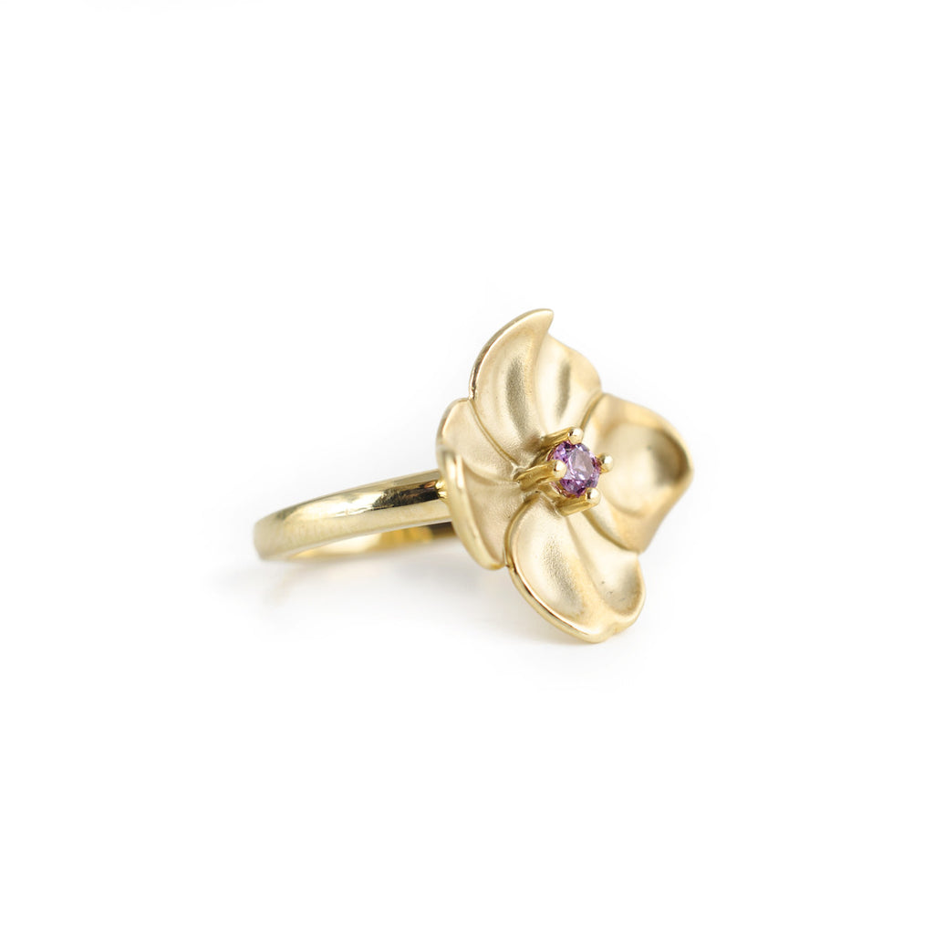 pink tourmaline flower ring