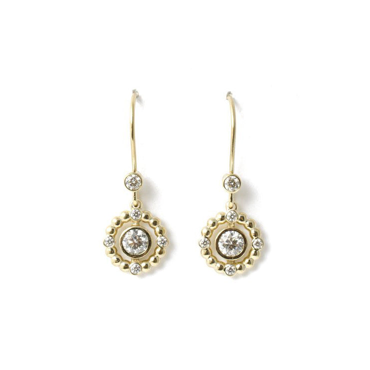 18k gold diamond orb halo earrings
