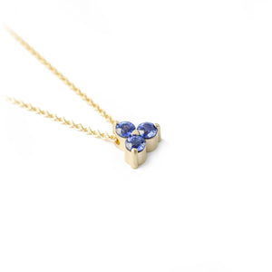 Sapphire trio in 14k yellow gold necklace