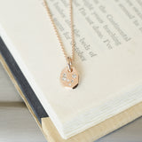 one of a kind 14k rose gold small galaxy diamond necklace