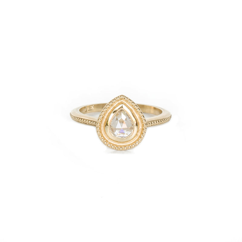 Pear Beaded Halo Ring