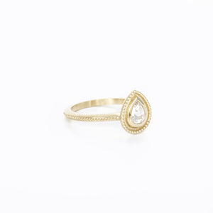 petite vintage style pear shaped rose cut yellow gold diamond ring