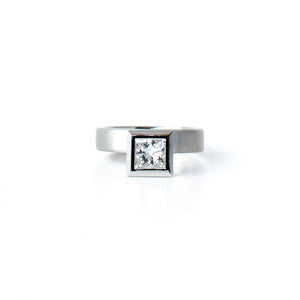 Offset Princess Cut Diamond Ring