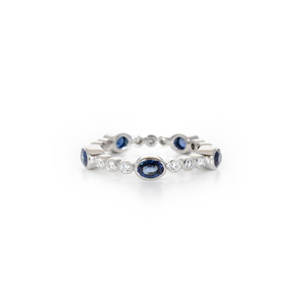 Oval Sapphire and Diamond Eternity Ring
