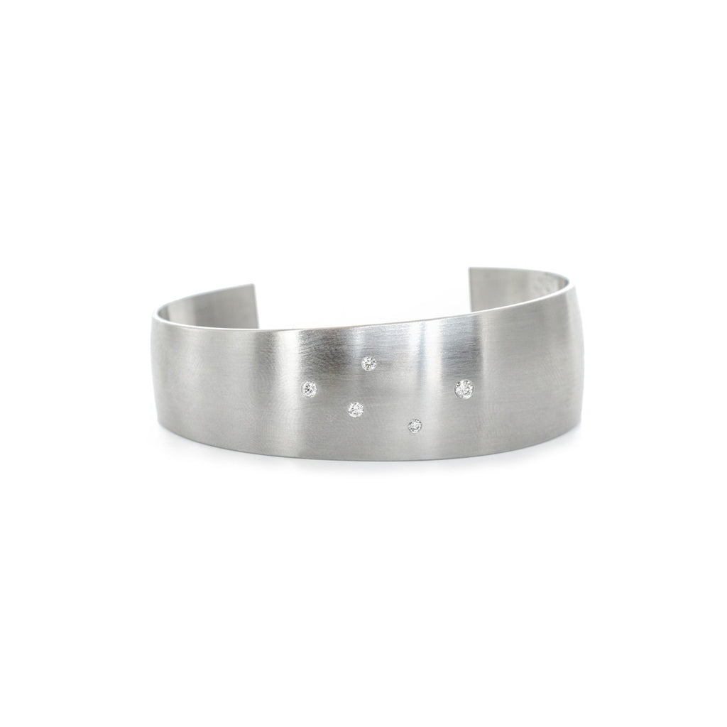 Diamonds in Steel Cuff