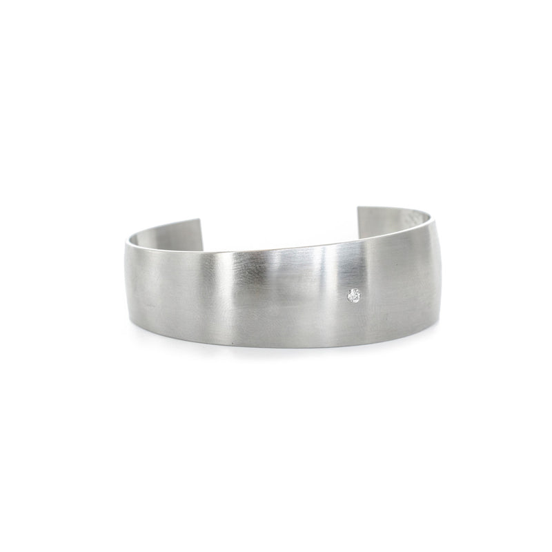 Modern stainless steel diamond cuff bracelet