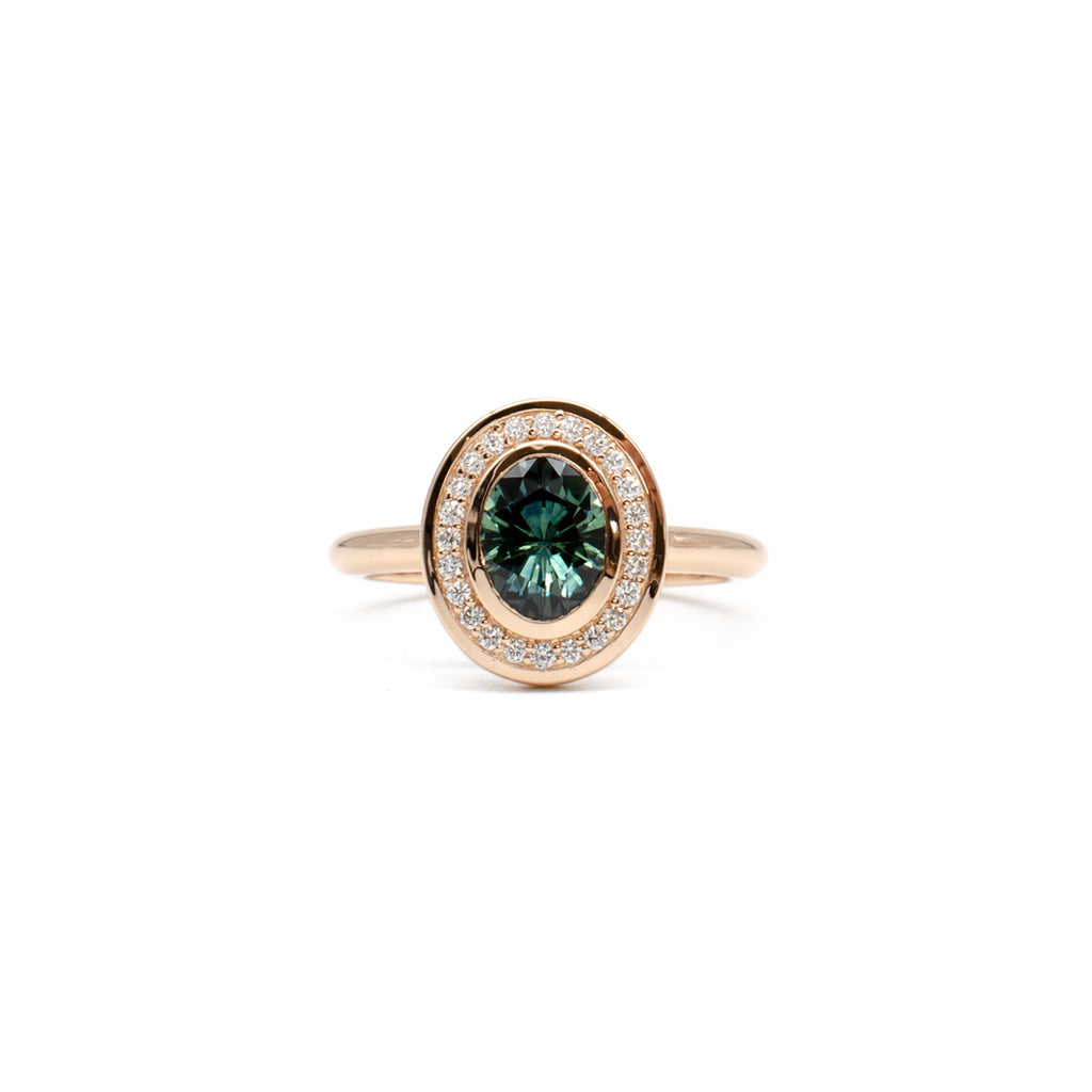 Heavy Halo Teal Sapphire Ring