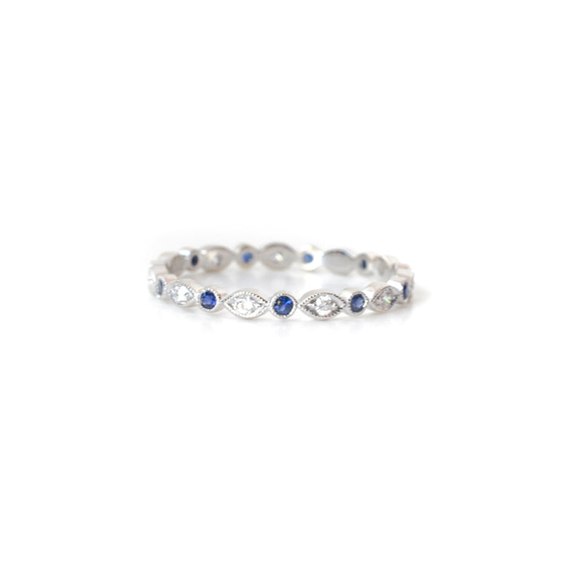 Marquise Diamond and Sapphire Round Band
