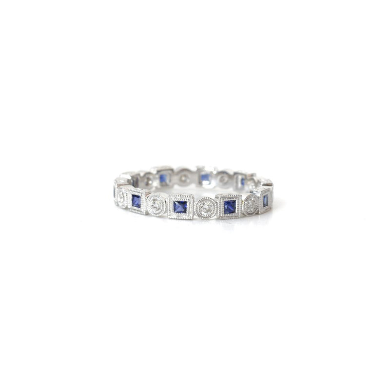 Sapphire Princess and Rounds Eternity Band