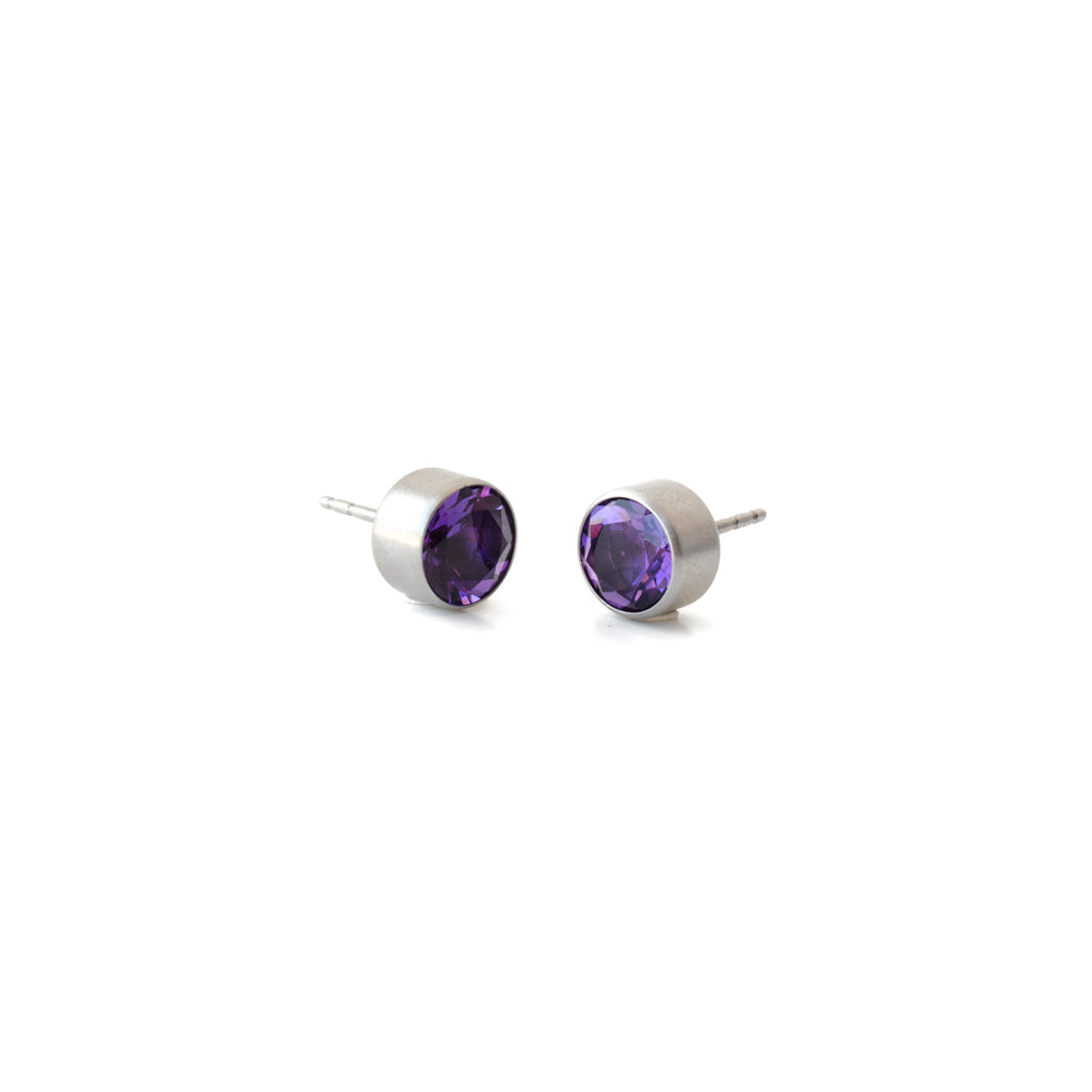 stainless steel amethyst bezel earrings